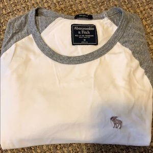 Abercrombie White Long Sleeve Shirt(gray sleeves)